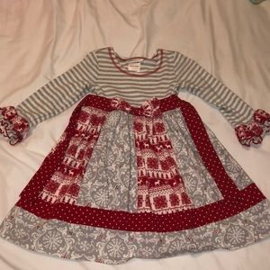 Other - Red white & gray multi print holiday dress